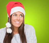 Happy christmas woman looking up — Stock Photo
