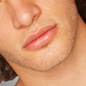 Man's Face Lips — Stockfoto