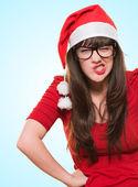 Angry christmas woman wearing glasses — Stock Photo