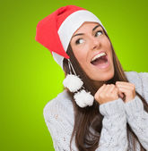Extremely excited christmas woman — Stock Photo