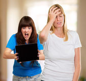 Frustrated Woman In Front Of Shocked Woman — Stock Photo