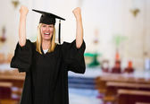 Happy Graduate Woman In Gown — Stock Photo
