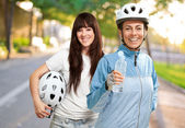 Two Cyclist Woman — Stock Photo