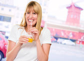 Woman Drinking Juice — Stock Photo