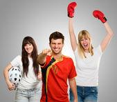 Grupp av sportig — Stockfoto