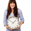 A Young Girl Holding A Clock — Stock Photo #14861639