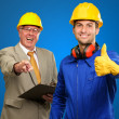 Portrait Of Two Happy Architect Engineers While Gesturing — Stock Photo