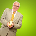 Senior Man Holding Gold Bar — Stock Photo