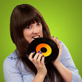 Young Girl Baiting Vinyl — Foto de Stock