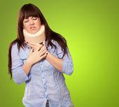 Woman Wearing Neckbrace — Stock Photo