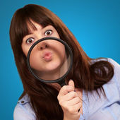 Woman Holding Magnifying Glass On Mouth — Stock Photo