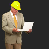 Portrait Of A Male Contractor Using Laptop — Stock Photo