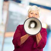 Portrait Of A Senior Woman With Megaphone — Stock Photo