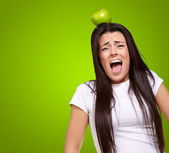 Young Girl With Apple On Head — Stock fotografie