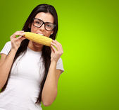 Young Girl Eating Corn — Stock Photo