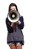 Portret kobiety z megafon — Zdjęcie stockowe