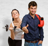 Boxer Making Handshake In Front Woman Exercising — Stock Photo