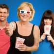Family Watching 3d Film — Foto Stock