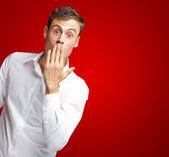 Portrait Of Young Man Covering His Mouth — Stock Photo
