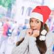 Christmas woman waiting for her gift — Stock Photo