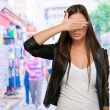 Young Woman Covering Her Eyes — Stock Photo