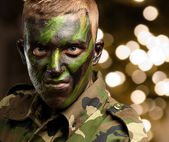 Close Up Of Angry Soldier — Stock Photo
