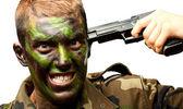 Żołnierz wprowadzenie strzał w głowę — Zdjęcie stockowe