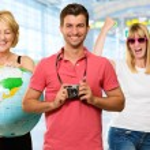 Portrait Of Happy Tourist Family — Stock Photo