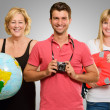 Stock Photo: Portrait Of Happy Tourist Family