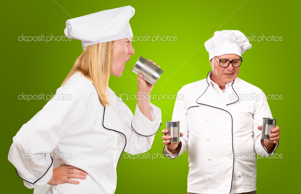 Portrait Of Two Chef Isolated On Green Background — Stock Photo #16303399