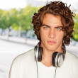 Portrait Of The Young Man In Headphones — Stock Photo