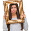 Funny Young Woman Holding Frame — Stock Photo