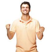 Portret podekscytowany młody człowiek — Zdjęcie stockowe