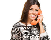 Young Woman Talking On Telephone — Stock Photo