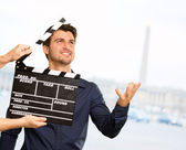 Director Clapping The Clapper Board — Stok fotoğraf