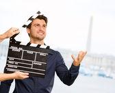 Diretor aplaudindo a claquete — Foto Stock