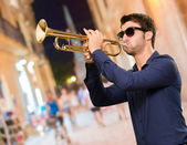 Young Man Holding Trumpet — Stock Photo
