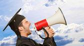 研究生名男子大喊成喇叭筒 — 图库照片