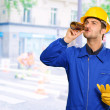 Portrait Of Thirsty Engineer — Stock Photo