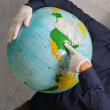 Royalty-Free Stock Photo: Human Pointing On Globe