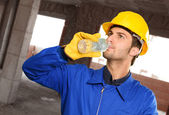 Engineer Drinking Water — Stock Photo