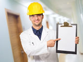 Architect Pointing On Clipboard — Stock Photo
