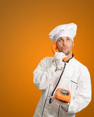 Male Chef Talking On Phone — Stock Photo