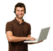 Man With Microphone Holding Laptop — Stock Photo