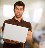 Portrait Of Young Man Working On Laptop — Stock Photo