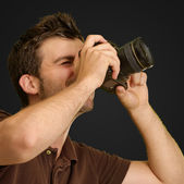 Portrait Of Young Man Capturing Photo — Stock Photo