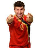 Retrato de deportista emocionado señalando con la mano — Foto de Stock