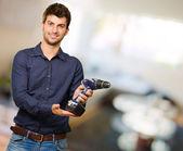 Man Holding Drilling Machine — Stock Photo