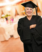 Senior Graduate Woman With Hands Folded — Stock Photo