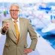 Happy Business Man Showing Thumb Up Sign - Stock Photo